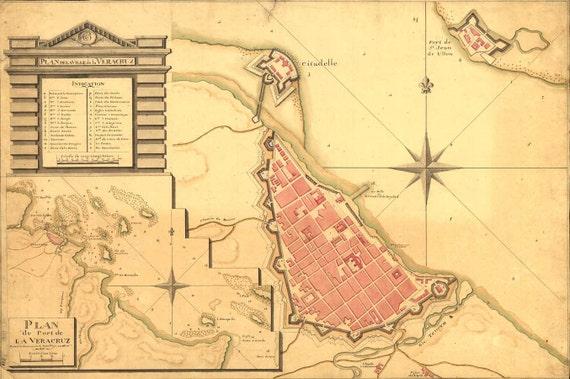 Antique Map Mexico Veracruz 1798