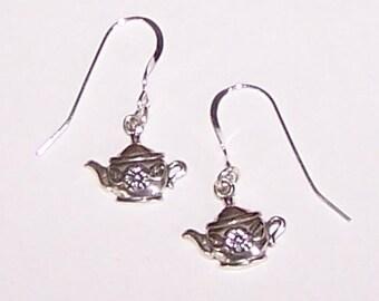 Sterling Silver TEA POT Earrings - Tea Lover, Beverage