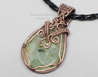 Prehnite and Copper Reversible Necklace Pendant