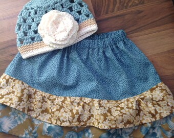 Layered Ruffle Skirt w/Matching Beanie Teal, Beige, Ivory, RTS Size 18-24 Month