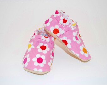 Pink Flowers Soft Sole Cloth Baby Shoe
