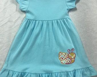2t blue ruffle dress with snail applique