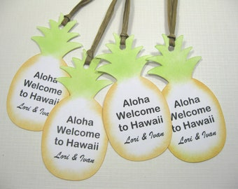 10 Personalized Tags - Pineapple Welcome Tags - Thank You Tags - Tropical Wedding - Hawaii - Destination Wedding - Beach Wedding