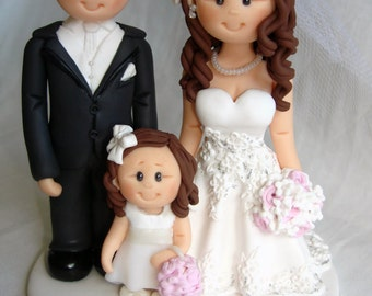 Bride and groom with teenage son wedding cake topper- Custom made bride and groom with children wedding cake topper