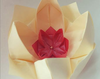 Pack of 10 Handmade Origami Lotus Flowers, diameter 8cm approx