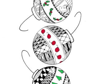 Christmas Ornaments - Color Digital Download