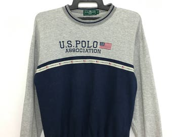 Vintage 90's U.S POLO Association Sweatshirt Color Block Medium Size