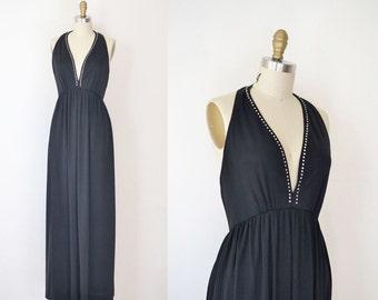 1970s Halter Dress / 70s Black Jersey Maxi Dress
