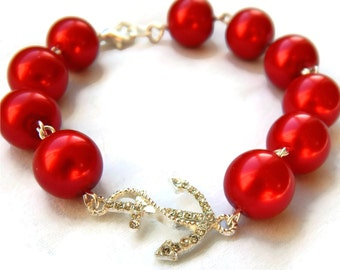 Red Pearl and Rhinestone Anchor Bracelet, Womens vintage inspired jewelry, Retro, Rockabilly, Pinup
