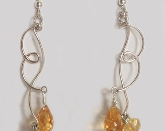 Citrine and Sterling Earring Drops
