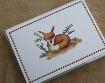 Fox Thank You Note Notecards with Deep Orange Border. Set of 8. Handmade Thank You Notes Packaged.