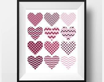 Black Friday Geometric Cross Stitch Pattern PDF Modern cross stitch Heart Counted cross stitch SET 12 pattern in 1 Punto de cruz
