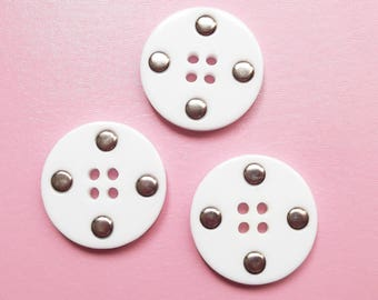 3 large buttons white and silver acrylic round 38 mm