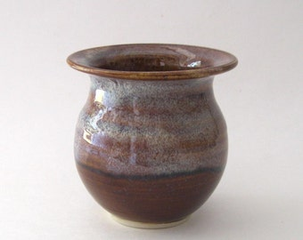 Ikebana Vase with Pin Frog - Coffee Latte Glaze