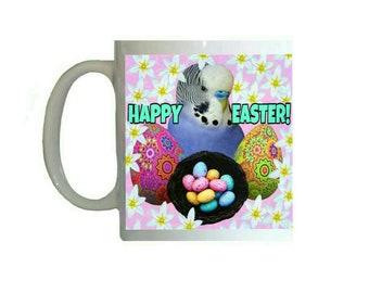 Blue Budgie Budgerigar Easter Basket Easter Egg Pattern 11oz Ceramic Coffee Mug