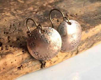 50% OFF Hammered Earrings, Brass Earrings, Textured Earrings, Domed Earrings, Dangle and Drop Earrings, Etsy, Etsy Jewelry, Simple Earrings