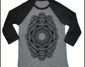 Unisex REPEATER 3/4 Length Sleeve Vintage Style Sacred Geometry Tattoo Style Baseball T-shirt