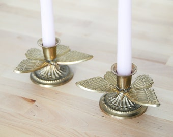 Vintage Butterfly Candleholders • Brass Candle Holders • Moth Figurines Pair • Lepidopterology Set • Shabby Chic Cottage • Rustic Home Decor