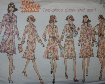 vintage 1970s simplicity sewing pattern 6849 misses blouse skirt and scarf size 14