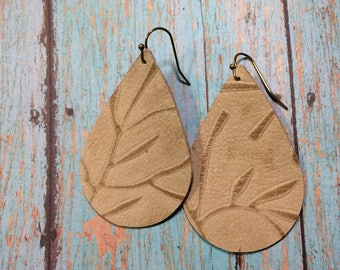 Teardrop leather earrings, tan embossed leather teardrop earrings, tan embossed leather with leaf accents earrings