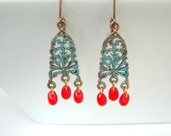 Patina Chandelier Earrings with Red Drop Beads - Turquoise Patina on Copper Filigree
