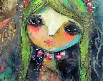 original painting Spring Jewels Mixed Media whimsical art very cute