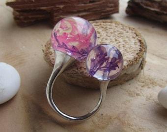 double ring, flower resin ring, flower ring balls, nature ring, real flower ring, pink purple flower ring, resin ring, dried flower ring
