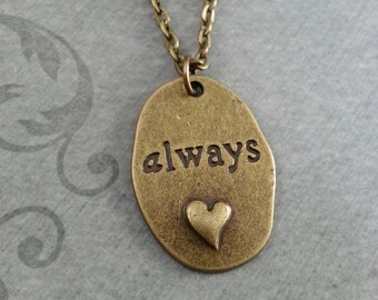 Always Necklace, Always Pendant Necklace, Anniversary Gift, Brass Necklace, Valentine's Day Jewelry, Always Charm Necklace, Girlfriend Gift