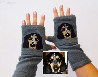 Your Dog Portrait Fingerless Gloves with Pockets. Best Personalized Gift for Dog Lovers.