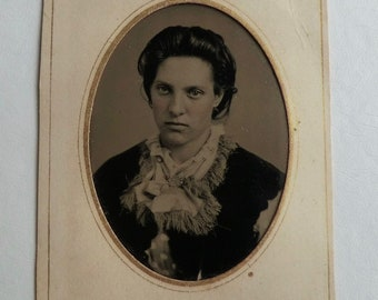 A Little Attitude Tintype Photo Younger Victorian Woman Fringe Neck Scarf