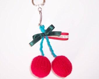 Key ring / cherry handmade bag charm