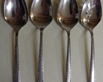 Oneida Via Roma mixed lot Tablespoons - Serving Spoons, 3 Solid and 1 Pierced, Vintage Stainless Flatware