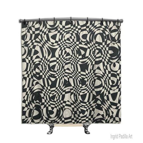 Retro shower curtain, Black shower curtain, shower curtain, Fabric shower curtain, Black and white shower curtain, Funky Shower curtain