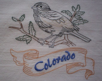 Colorado Lark Bunting Embroidered Flour Sack Towel, Colorado State Bird Towel, Lark Bunting Towel, Colorado Towel