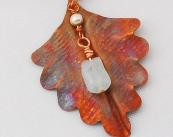 Necklace!  Hammered Copper Leaf Pendant with Amazonite