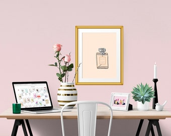 Chanel Coco Mademoiselle Perfume Fashion Illustration Art Poster