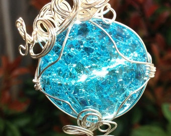 Sapphire Blue Glass Wire Wrapped Pendant
