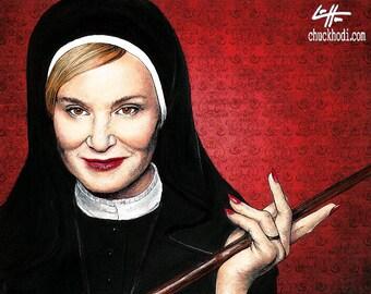 "Print 8x10"" - Sister Jude - American Horror Story Asylum Briarcliff Nun Dark Art Jessica Lange Evan Peters Gothic Halloween Lowbrow Pop Art"