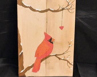 Cardinal and heart haind painted rustic art