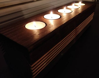 Wooden Tea Light Candle Holder With A Series Of Stripes