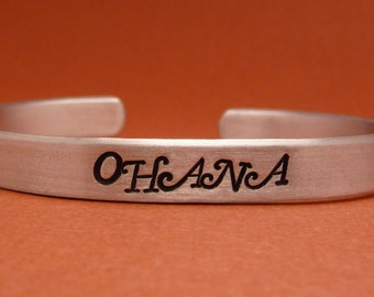 Ohana - A Hand Stamped Bracelet in Aluminum or Sterling Silver