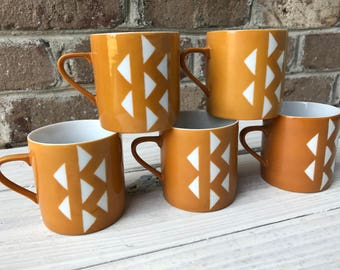 Set of 5 Vintage Mugs || Brown and White Geometric Cups