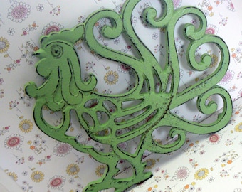 Rooster Cast Iron Trivet Hot Plate Pistachio Green Shabby Elegance Ornate Swirled Tail Rooster Farm House Country Chic Kitchen Decor