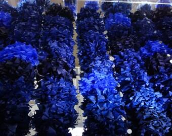 "96 Medium CONNECTING PuffScape 12"" Tissue Paper Pom Pom Flower Puff 8ft DIY CURTAIN Midnight & Cobalt Blue Starry Night Wedding Prom Chuppah"