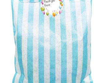 Blue & white paper party bags x 24 with 30mm writable balloon stickers - 24 of each