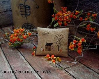 Primitive Autumn Cabin 1809 Pillow Tuck Cross Stitch E Pattern PDF