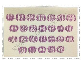 Small Mini Classic 3 Letter Monogram  Machine Embroidery Font Monogram Alphabet