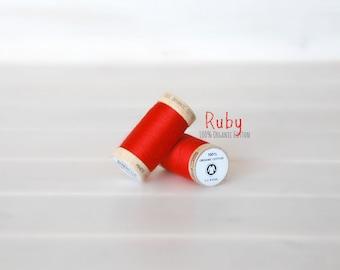 Organic Cotton Thread GOTS - 300 Yards Wooden Spool  - Thread Color Ruby Red - No. 4805 - Eco Friendly Thread - 100% Organic Cotton Thread