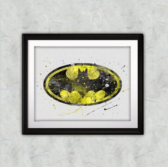Batman Watercolor Print Batman Art Batman Symbol Art Dc