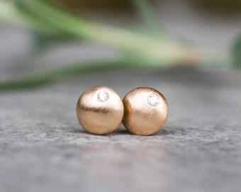 Diamond Earrings, disc earrings, 14k gold earrings, Diamond stud earrings, Diamond studs, Gold stud earrings, Bridal earrings, gift for her